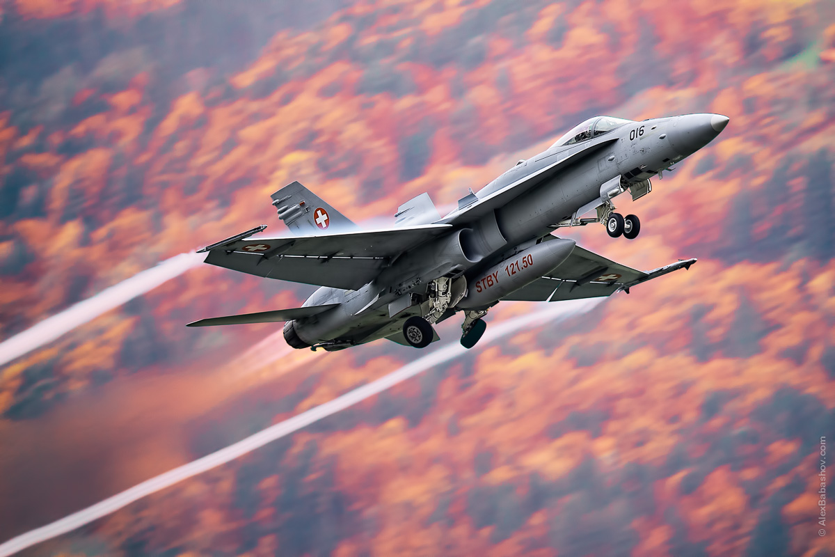 McDonnell Douglas F-18 Hornet J-5016, Meiringen (LSMM), Switzerland during AXALP 2015 Photo by Alexander Babashov