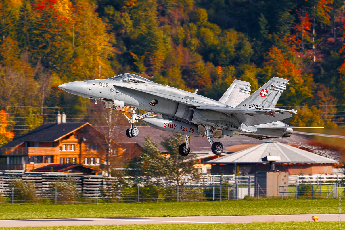 McDonnell Douglas F-18 Hornet J-5026, Meiringen (LSMM), Switzerland, during AXALP 2015 Photo by Alexander Babashov