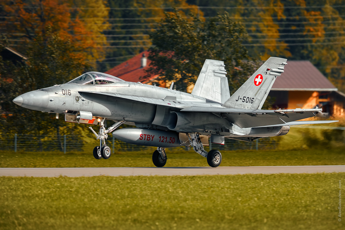 McDonnell Douglas F-18 Hornet J-5016, Meiringen (LSMM), Switzerland, during AXALP 2015 Photo by Alexander Babashov