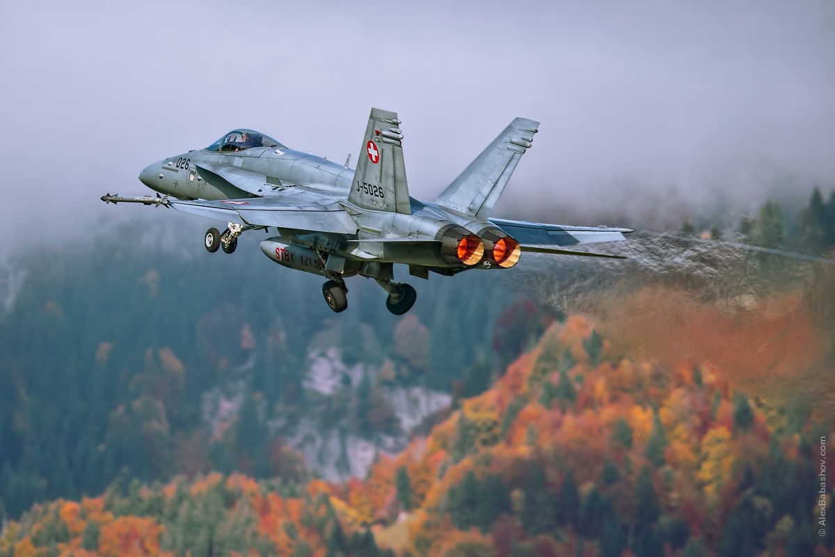 McDonnell Douglas F-18 Hornet J-5026, Meiringen (LSMM), Switzerland during AXALP 2015 Photo by Alexander Babashov