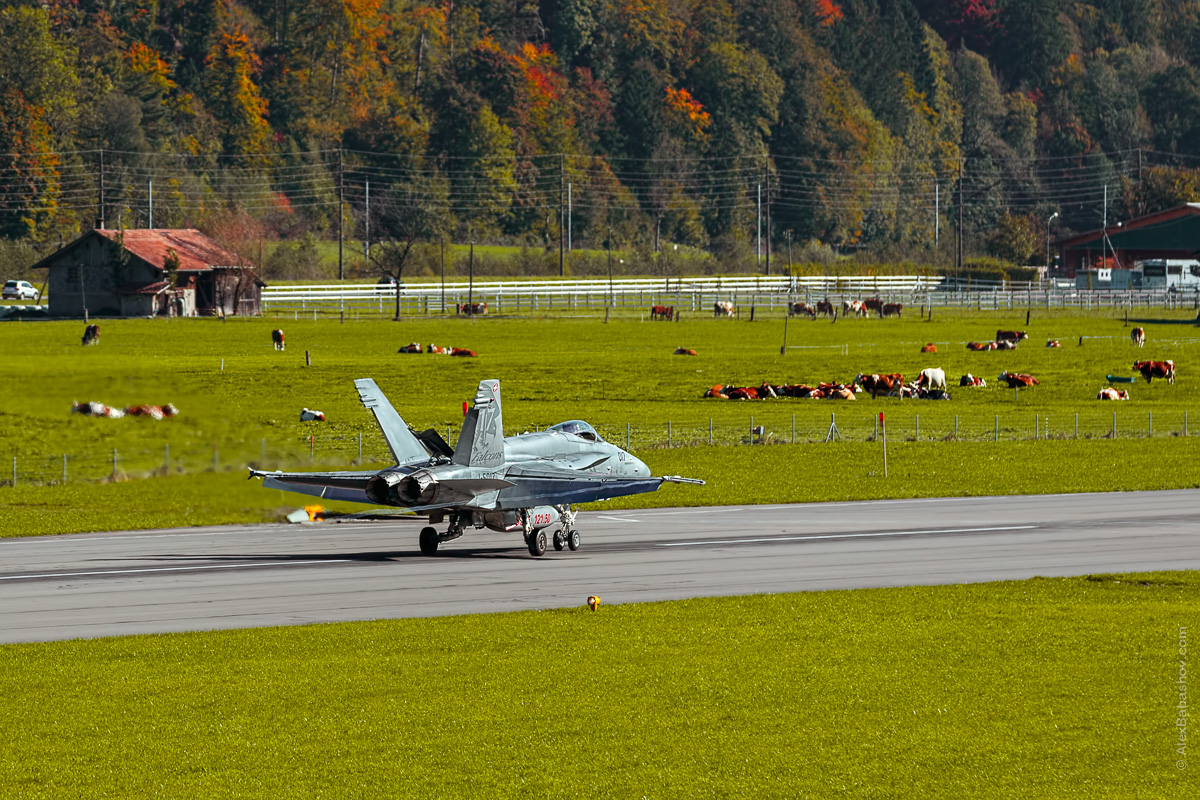 McDonnell Douglas F-18 Hornet J-5017, Meiringen (LSMM), Switzerland during AXALP 2015 Photo by Alexander Babashov